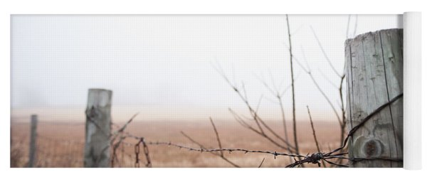 Barbed Wire Fence In The Fog Yoga Mat