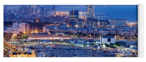 Barcelona Cityscape By Night Yoga Mat
