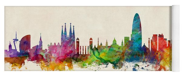 Barcelona Spain Skyline Yoga Mat
