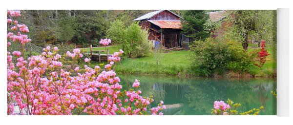 Barn And Flowers Near Pond Yoga Mat