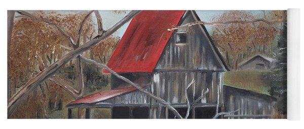 Yoga Mat featuring the painting Barn - Red Roof - Autumn by Jan Dappen