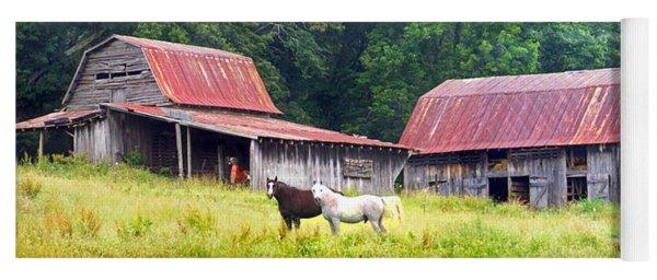Barns And Horses Near Mills River Nc Yoga Mat
