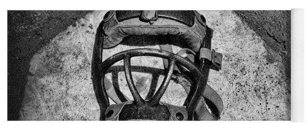 Baseball Catchers Mask Vintage In Black And White Yoga Mat