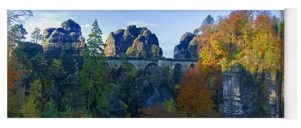 Bastei Bridge In The Elbe Sandstone Mountains Yoga Mat