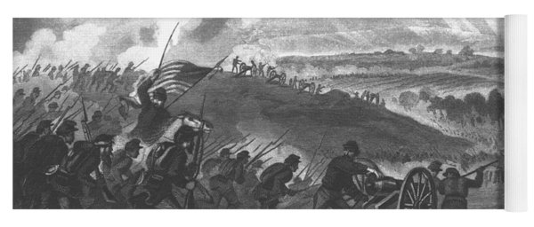 Battle Of Gettysburg - Final Charge Of The Union Forces At Cemetery Hill, 1863 Pub. 1865 Engraving Yoga Mat