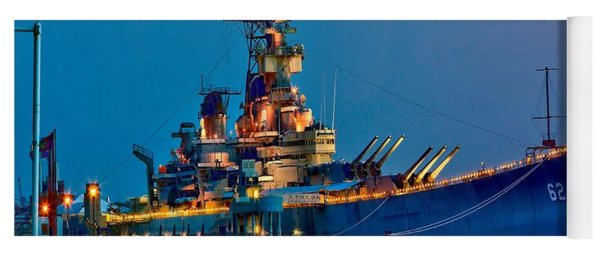 Battleship New Jersey At Night Yoga Mat