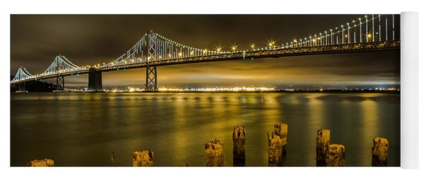 Bay Bridge And Clouds At Night Yoga Mat