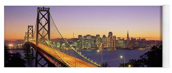 Bay Bridge At Night, San Francisco Yoga Mat