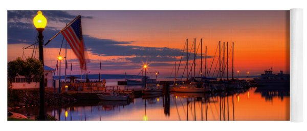 Bayfield Wisconsin Fire In The Sky Over The Harbor Yoga Mat