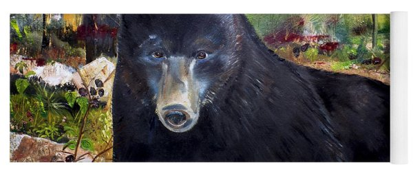 Yoga Mat featuring the painting Bear Painting - Blackberry Patch - Wildlife by Jan Dappen