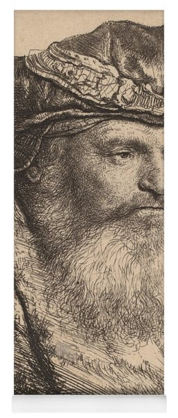 Bearded Man In A Velvet Cap With A Jewel Clasp Yoga Mat