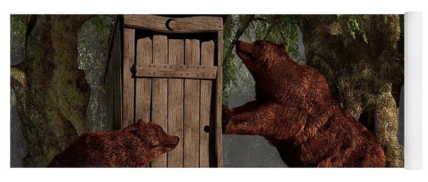 Yoga Mat featuring the digital art Bears Around The Outhouse by Daniel Eskridge