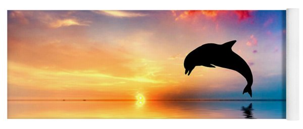 Beautiful Ocean And Sunset With Dolphin Jumping Yoga Mat