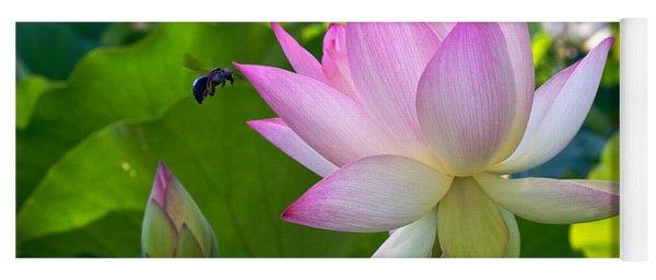 Bee At A Lotus Flower Yoga Mat