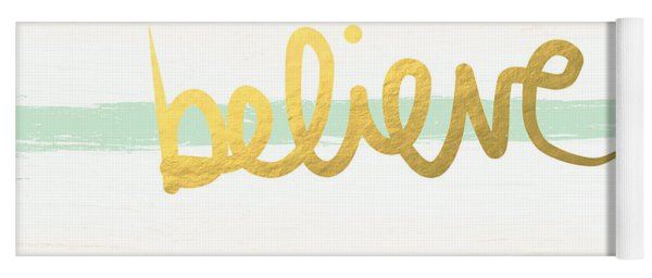 Believe In Mint And Gold Yoga Mat