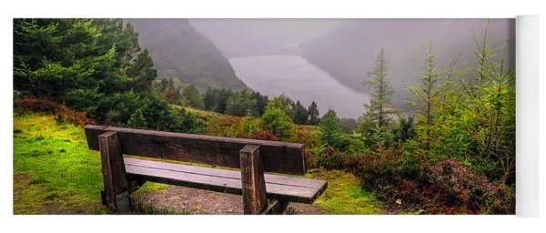 Bench Over The Upper Lake. Glendalough. Ireland Yoga Mat
