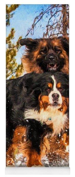 Bernese Mountain Dog And Leonberger Winter Fun Yoga Mat
