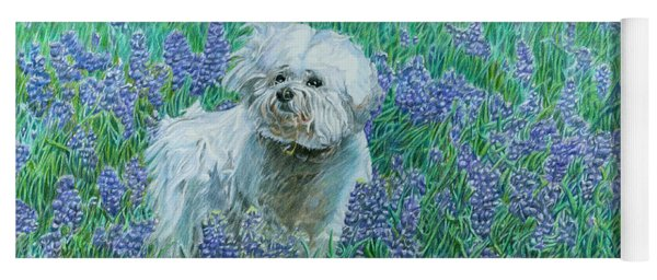 Yoga Mat featuring the drawing Bichon In The Bluebonnets by Dominic White