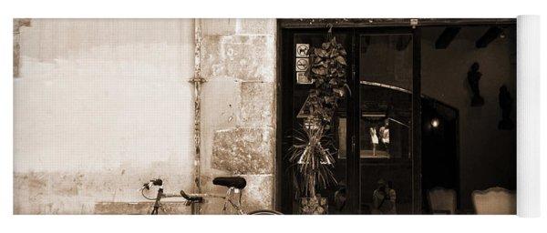 Bicycle And Reflections At L'antiquari Bar  Yoga Mat