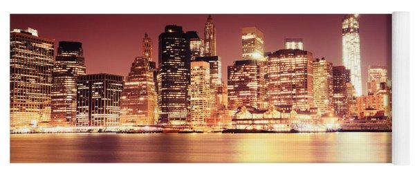 Big Apple - Night Skyline - New York City Yoga Mat