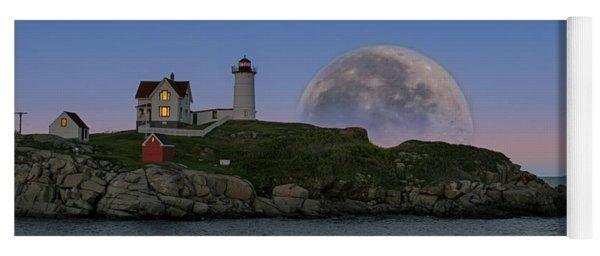 Big Moon Over Nubble Lighthouse Yoga Mat