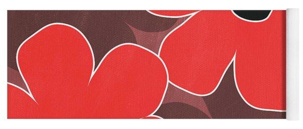 Big Red And Marsala Flowers Yoga Mat