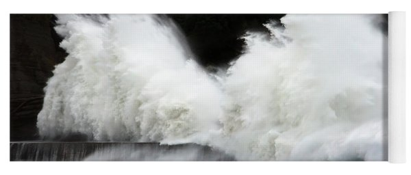 Big Waves Breaking On Breakwater Yoga Mat