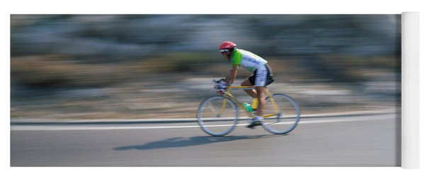 Bike Racer Participating In A Bicycle Yoga Mat