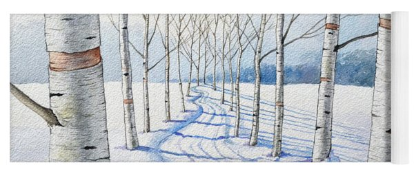 Birch Trees Along The Curvy Road Yoga Mat
