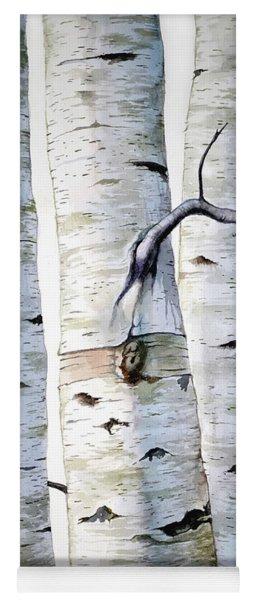 Birch Trees In Watercolor Yoga Mat