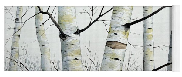 Birch Trees In The Forest In Watercolor Yoga Mat