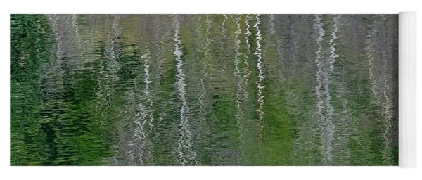 Birch Trees Reflected In Pond Yoga Mat