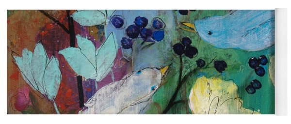 Birds And Berries Yoga Mat