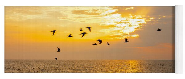 Birds In Lake Erie Sunset Yoga Mat