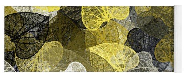 Black And Gold Leaf Pattern Yoga Mat