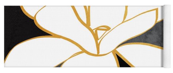 Black And Gold Magnolia- Floral Art Yoga Mat