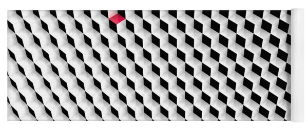 Black And White Cubes With One Red Cube. Yoga Mat