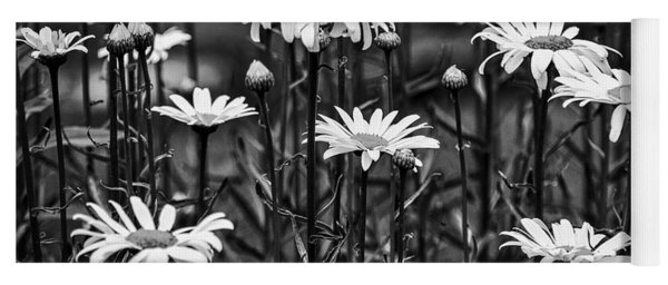 Black And White Daisies Yoga Mat