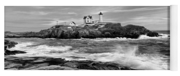 Black And White Painted Seascape Yoga Mat