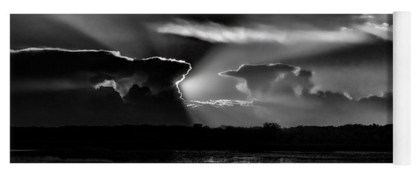 Black And White Sunset Over The Mead Wildlife Area Yoga Mat