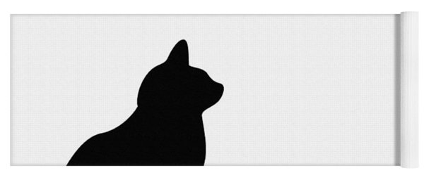 Black Cat Silhouette On A White Background Yoga Mat