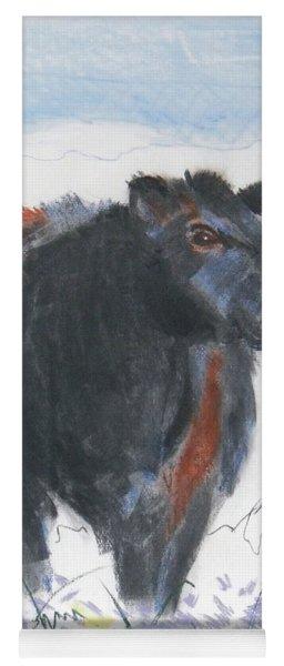 Black Cow Drawing Yoga Mat