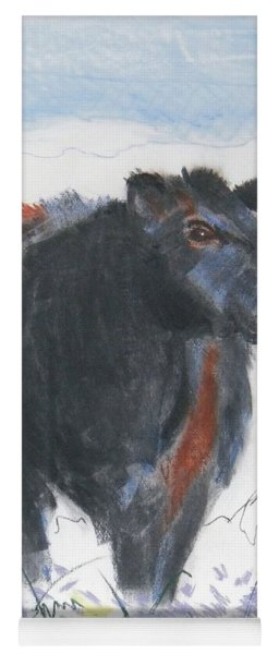 Black Cow Drawing Yoga Mat