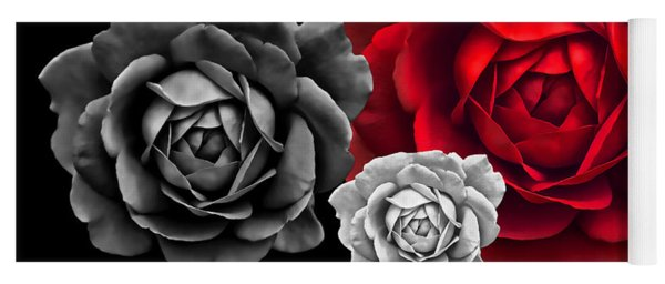 Black White Red Roses Abstract Yoga Mat