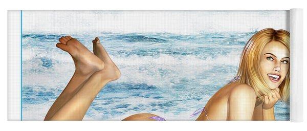 Blonde On Beach Yoga Mat