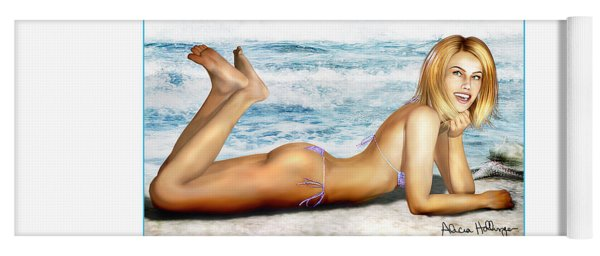 Blonde On Beach Yoga Mat