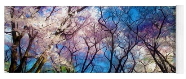 Blossom Cherry Trees Over Spring Sky Yoga Mat