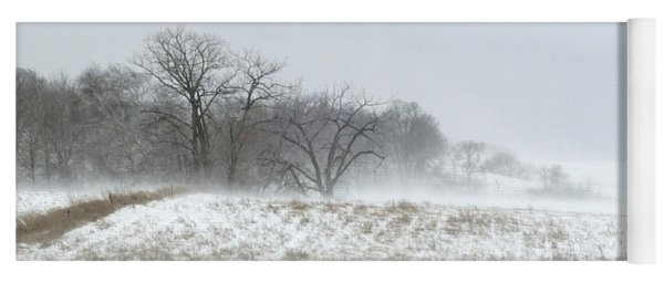 Blowing Snow Over Fields And Forest Yoga Mat