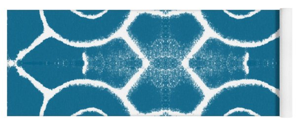 Blue And White Wave Tile- Abstract Art Yoga Mat