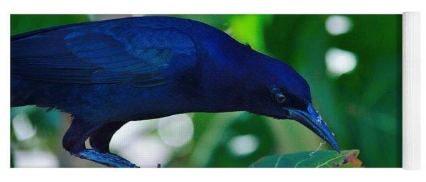 Blue-black Black Bird Yoga Mat